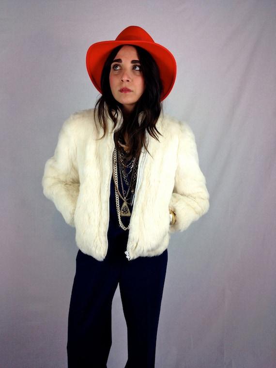 White rabbit fur coat
