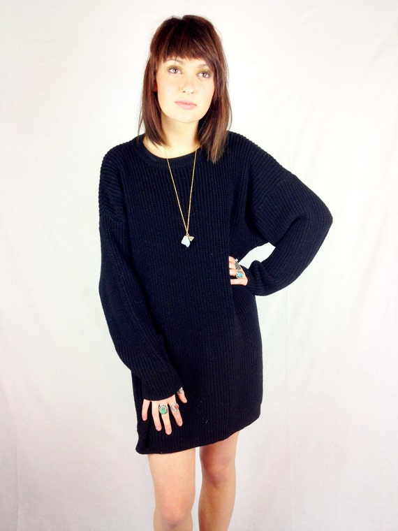 Diane Von Furstenberg black knit sweater dress
