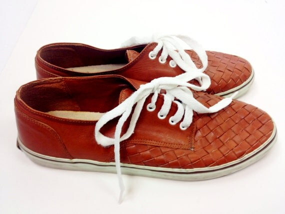 Woven leather lace up sneakers