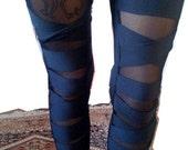 FREE US S&H -- Matte Fierce Black Mesh Panel Bodycon Leggings with Bandage Slash Detail XS/S