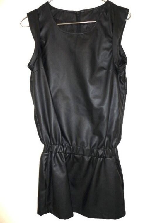 Avant Garde Black Pleather Vegan Leather Tunic Mini Dress XS New Wave Mod Sleeveless Retrofuture Biker Hipster Goth Cyber Punk Minimal