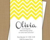 Chevron Invitation. Chevron Birthday. Chevron Baby Shower. Chevron Bridal Shower