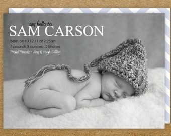 baby boy birth announcement-- say hello to...