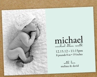baby boy birth announcement: Baby Boy Printable birth announcement.photo baby announcement