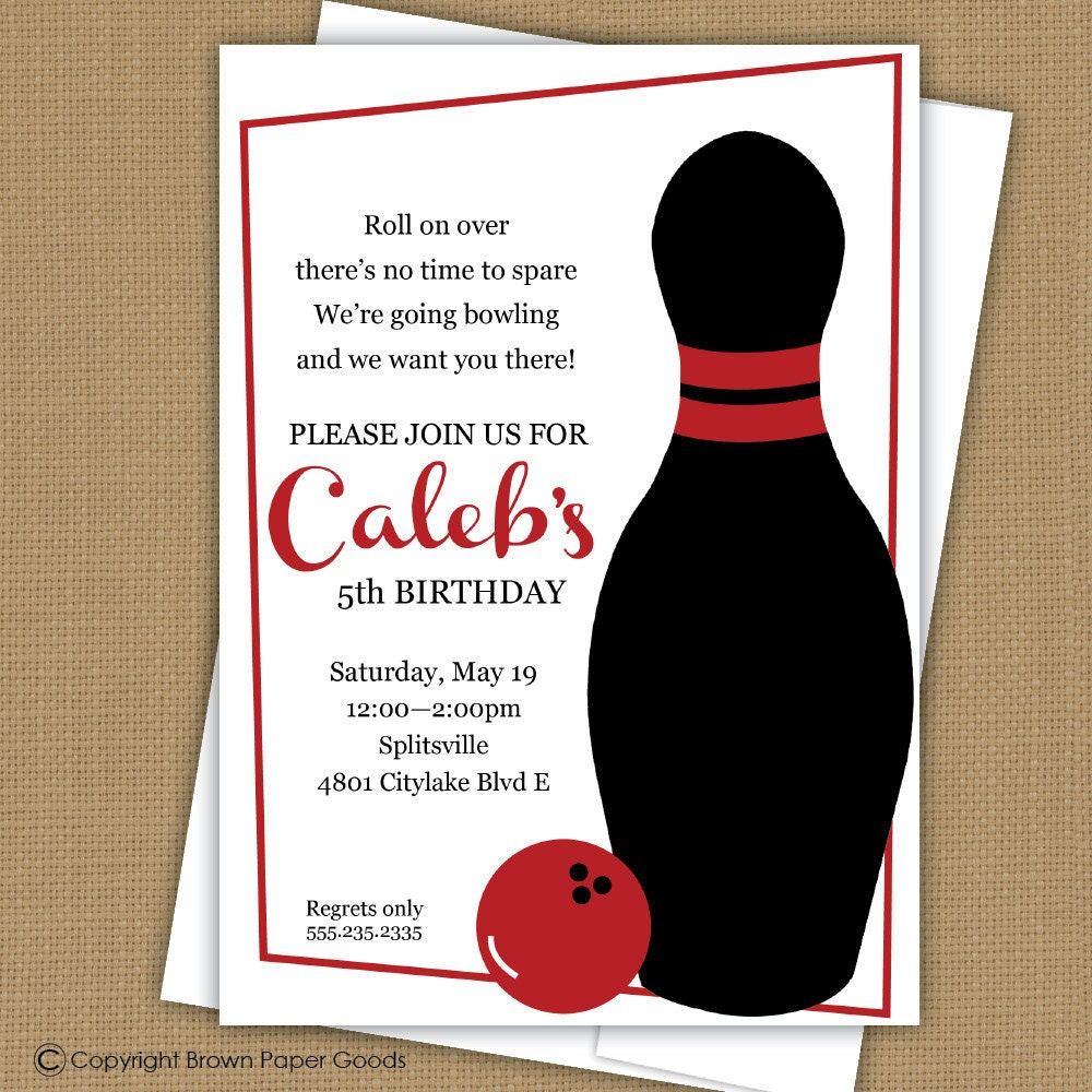 Exceptionnel Bowling Invitation Fête d'anniversaire. Invitation EF54