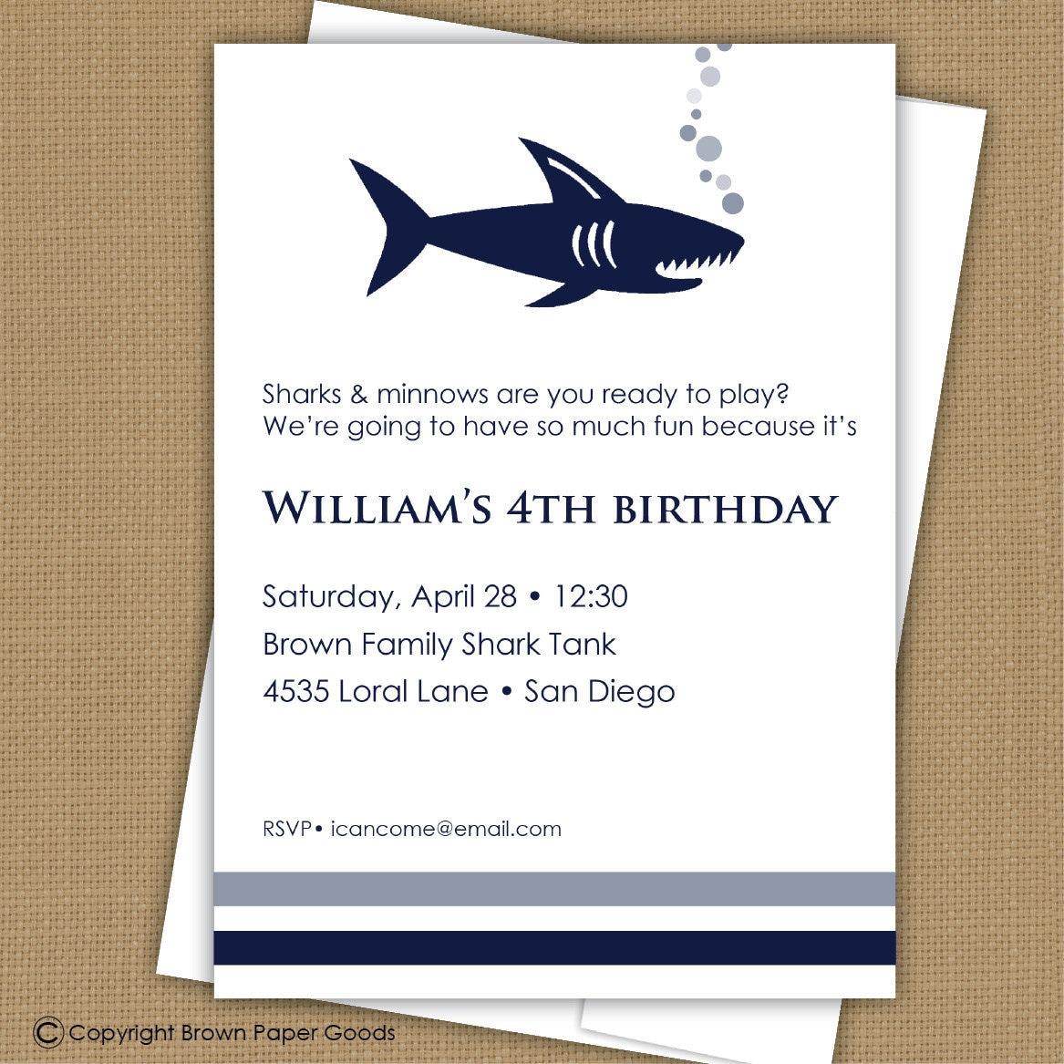 shark invitation shark party printable, party invitations