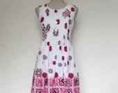 White Pink Purple Sundress 8 Sleeveless