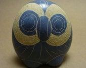 Blue Pottery Owl