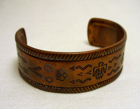 Vintage Southwest Copper Cuff Bracelet - Signed - Native American Navajo Style Thunderbird