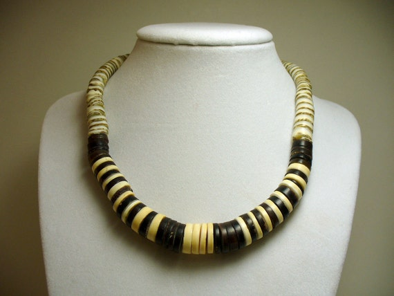 Native American Graduated Heishi Bead Necklace -Horn & Shell with Handmade Silver Beads - Choker Length
