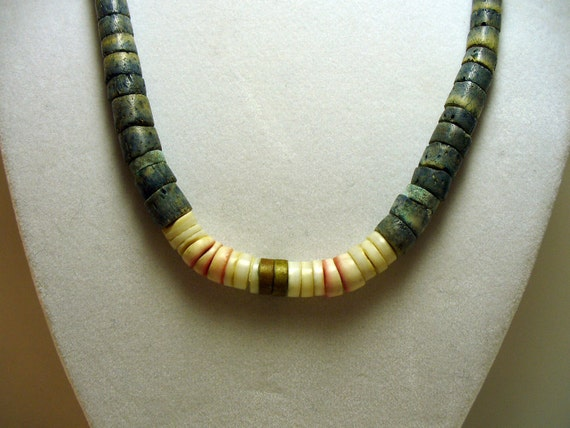 Unusual Blue Dyed Bone, Red Lip Shell and Brass Heishi Bead Necklace - Southwest Native American