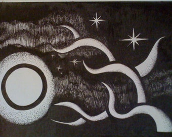 Ink Drawing : Full Moon Rising or Egg & Bacon Garnished - Original Drawing by Jeddin White