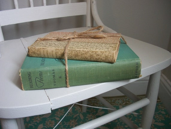 vintage book set ... home decor ... cottage chic