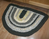 Green and Yellows with tan colors Half Oval Crocheted Rag Rug