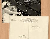 Photo wedding thank you card, thank you card wedding, wedding photo thank you postcard