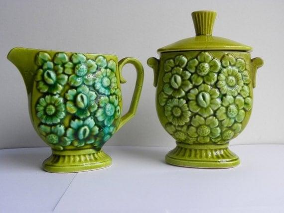 Olive Green Vintage Cream Sugar Set Flower Daisy Ceramic Floral