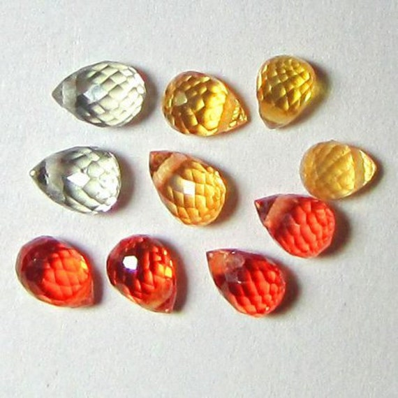 Natural Yellow Orange Green Sapphire, Africa, Unheated, Drilled  Briolette 4x2.8 mm, Lot (5 pairs) of 2.83 cts
