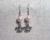 Fleur De Lis and Pearl earrings
