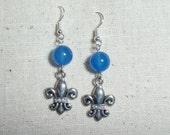 Fleur De Lis and French Blue Quartz Earrings