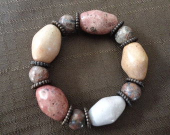 Ceramic and Leopard Jasper Stretch Bracelet
