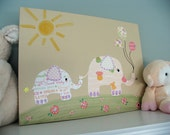Girls room art, Nursery art - Mommy & Baby Elephant - ORIGINAL canvas art - 12x16