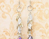 Silver Leaf, Aurora Borealis, Glass Bead, Silver Dangle Earrings