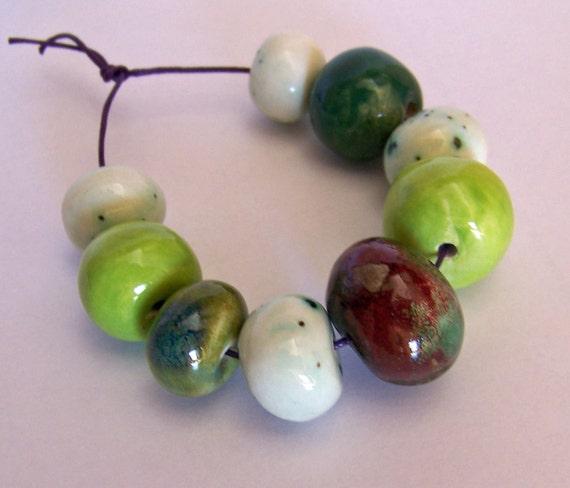 Handmade beads, ceramic beads, fall bead set
