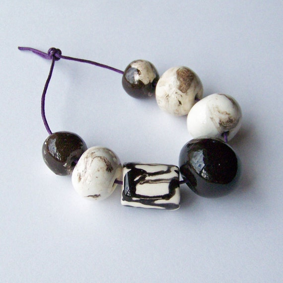 Ceramic beads, handmade in South Africa, black and white