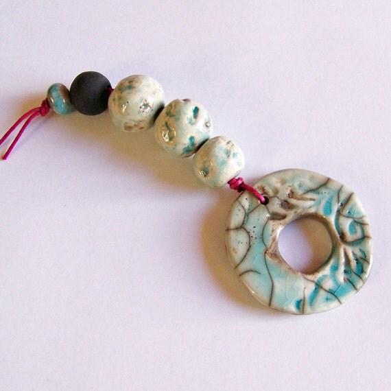 Ceramic pendant, ceramic bead set, handmade in South Africa