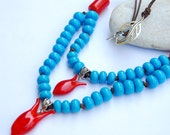 Handmade Lampwork Ottoman Tulip Turquoise Glass Necklace