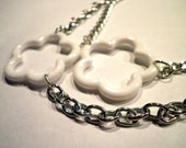 White Lucky Flower Necklace with Silver Chain