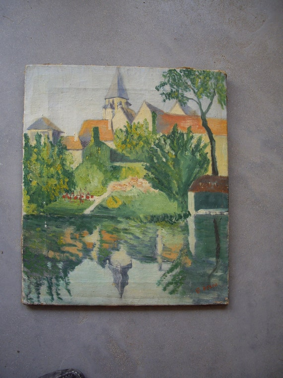 French original oil painting. River side and church.
