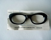 Vintage Cats Eye Glasses. Glossy Black. New Old Stock.