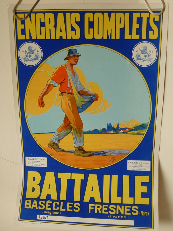 SALE Vintage French Pastoral Advertising Poster, Authentic