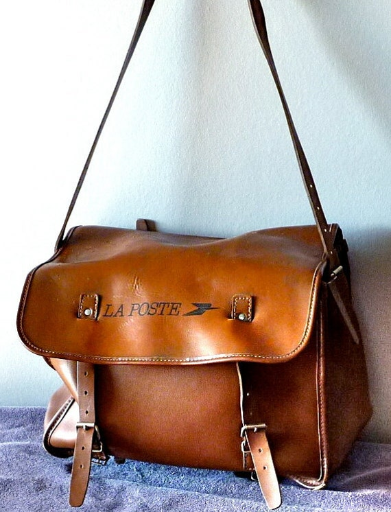 SALE Vintage French La Poste large leather Mail Bag Bike Bag