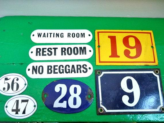 SALE 1 Vintage Enamel Number or Sign, 9, 19, 28, 47, 56