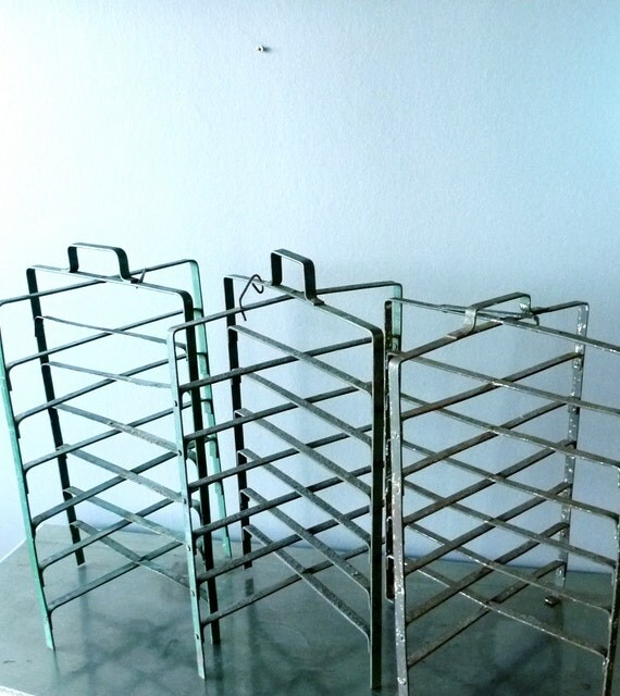 BIG Green Vintage French metal pie stand or rack
