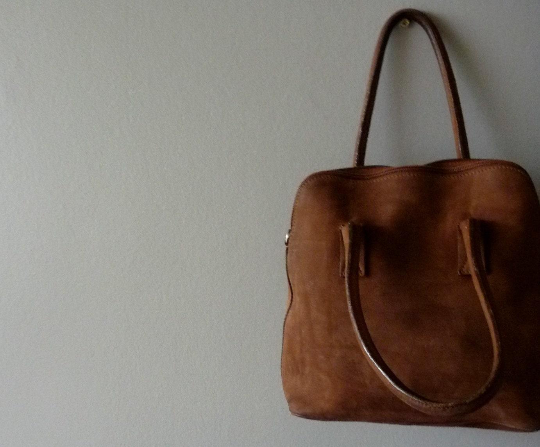 Cocoa Brown leather Charles et Charlus FRANCE bag vintage
