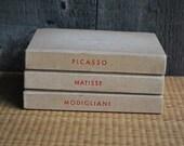 vintage art books: Picasso, Matisse, Modilgliani (set of 3)