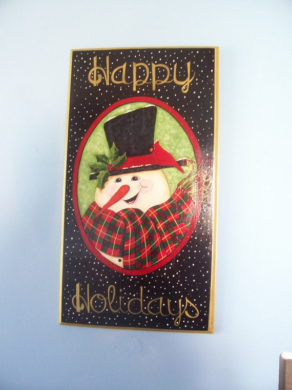 "Christmas, Wall Hanging, ""Happy Holidays"", Snowman, Decorative,Tole, Hand Painted, Plaque"