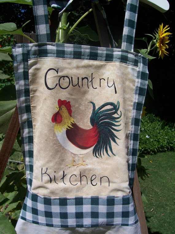 Apron - Womens - Full - Country Kitchen - Rooster - Two Pockets