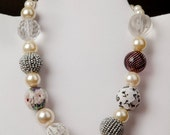 Mixed Media Necklace Pearl/Glass/Fabric Handmade