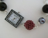BEADED BRACELET WATCH with Black Crackle and Grey Pearls and Raspberry Beads