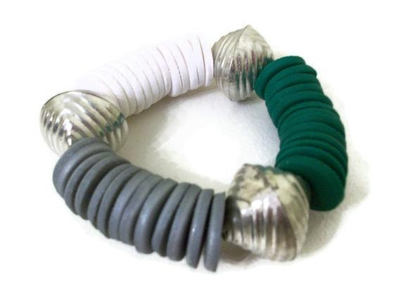 Disc Bracelet Emerald Green, White and Grey Polymer Clay and Metal