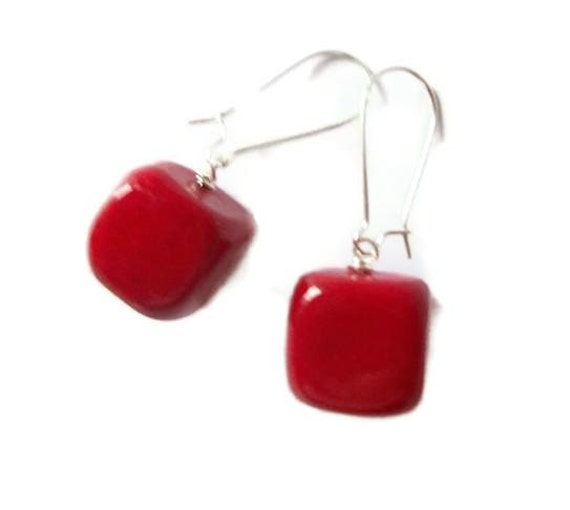 Cube Earrings Red Agate Stone Dangle kidney Wire