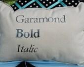 Original Garamond Font Pillow