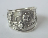Sterling Silver Spoon Ring Ornate Antique - Lilly of the Valley,  Made to your size , up to size 11 1/2.
