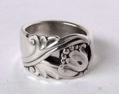 Sterling Silver Spoon Ring Ornate Antique- Spring Glory Pattern -- Up to size 11.