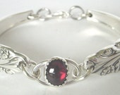 Spoon Bracelet  Ornate Antique- Evening Star Pattern With Genuine Garnet Stone.Made to your size