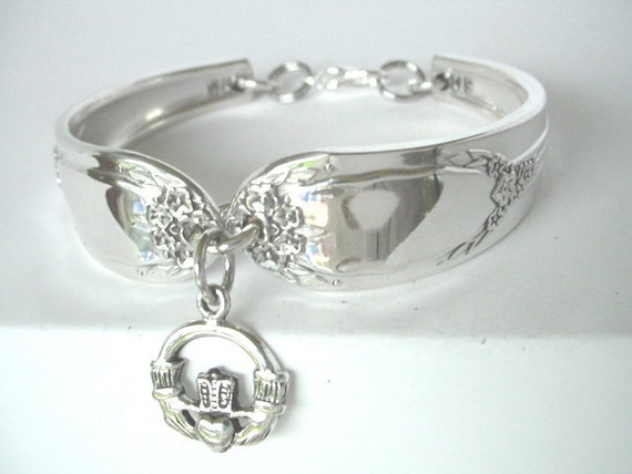 Spoon Bracelet  Ornate Antique Pattern-  Garland  with sterling silver  Claddaugh  Charm- unique silverware jewelry.